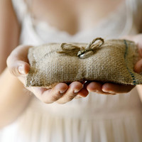 burlap ring pillow ring bearer woodland wedding by whichgoose