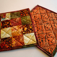 Batik Quilted Pot Holders Set of Two in Fall Colors, Bohemian Fabric Hot Pads