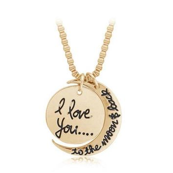 I Love You To The Moon And Back ' Moon Pendant Lover's Necklace Great Gifts