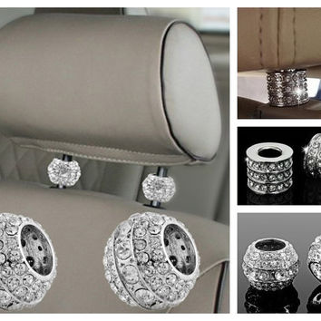 Crystal Auto Headrest Collars, Interior Car Accessory, Rhinestone Bling Car Seat Accessories, Car Bling, Unique Gift For Her,Bling Car Decor