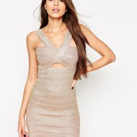 ASOS SCULPT Metallic Rose Gold Thread Work Mini Dress