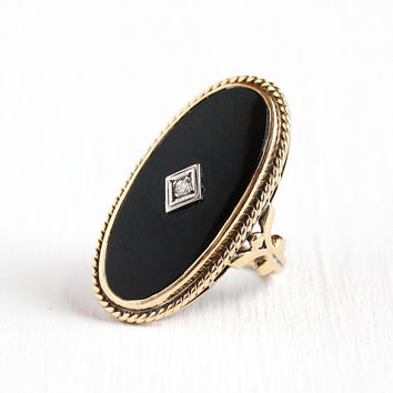 Vintage Onyx Ring - 10k Rosy Yellow Gold Black Onyx Gem & Diamond Statement - Size 5 1/2 Art Deco 1940s Black Gemstone Fine Jewelry