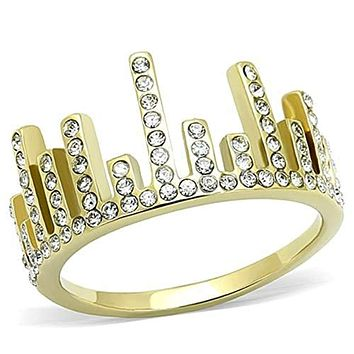 WildKlass Stainless Steel Ring IP Gold(Ion Plating) Women Top Grade Crystal Clear