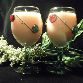12 oz Glass Beaded Soy Wine Glass Candle in Light Soft Pink