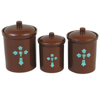 Turquoise Cross Canister Set - 3 pcs