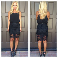 Ivy Crochet Lace Pencil Skirt - BLACK