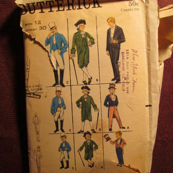 SALE Complete Vintage Butterick Sewing Pattern, 3319! Size 12 Chest 30 Boys/Kids/Child/Young Men/Long Coats/Centennial Costumes/Magician