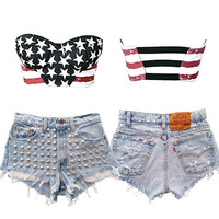 STARS AND STRIPES AMERICAN FLAG BRA TOP $32 - The Fashion Corporation