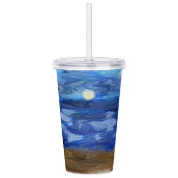 Nautical Double Wall Acrylic Tumbler | Plastic Tumblers with Straw