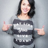 Eat Like You Give a Damn Women's Striped Pullover - The Herbivore Clothing Co.
