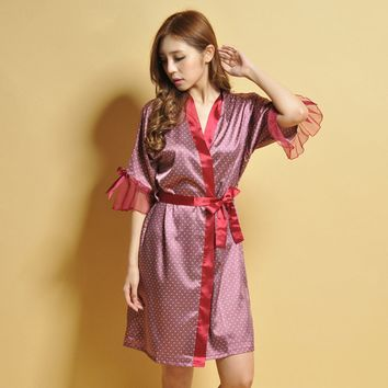 New Lady Pajama, Sexy Noble Silk Woman\'s Shirt Style Nightgown, Woman Girl Sexy Robe /One Size