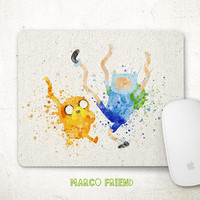 Adventure Time Mouse Pad, Jake and Finn Mousepad, Cartoon Watercolor Art, Office Decor, Gifts, Art Print, Kids Desk, Computer Accessories