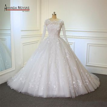 Real Photos Amanda Novias Design Lace Ball Gown Flowers Sleeves Wedding Dresses Top Quality 2018