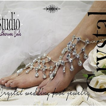 e4a955d0deed CRYSTAL Barefoot sandals rhinestone bridal foot jewelry barefoot footless  sandle destination wedding shoes beach wedding jewelry