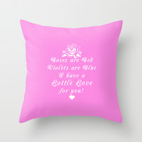 Roses are Lottle Love for You Pink Throw Pillow by Lottle