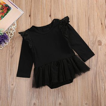 Cute Newborn Baby Girl Lace Romper Long Sleeve Cotton Clothes Tutu Skirt New Jumpsuit Outfit Princess