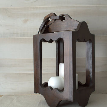 Retro Hanging Lantern, Wood Candle Lantern, Rustic Candle Holder, Swag Lantern