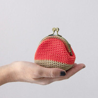 Crochet coin purse, the Coral Keeper, in coral and beige