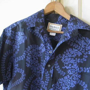 16199a0b0 Men's Small Vintage Hawaiian Shirt in Black with French Blue; Me