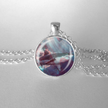 Shark Necklace Great White Shark Bloody Water Ocean Jewelry Shark Week
