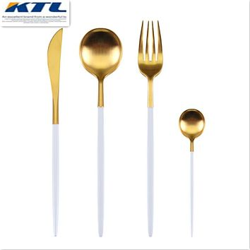 KuBac 24Pcs/set Golden 18/10 Stainless Steel Dinnerware White Handle Silverware Set Fork Knife Scoops Cutlery Set Home Tableware
