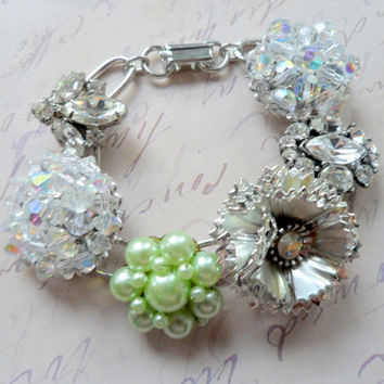 Sparkly Holiday Vintage Earring Link Bracelet, Vintage Rhinestone and Flower Statement Bracelet, Shabby Chic Bridal