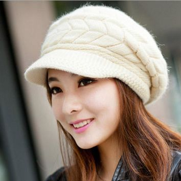 faux rabbit fur Winter Women baseball cap snapback Warm Knitted Crochet Beret Hat,chapeu bone masculino,gorras mujer,casquette