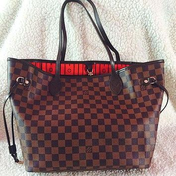 LV women's tide brand classic old flower shopping bag mother bag two-piece Coffee check