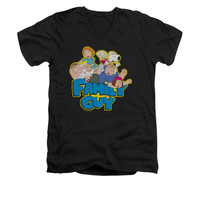 FAMILY GUY FAMILY FIGHT Short Sleeve V Neck T-Shirt