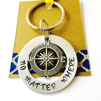 Compass Keychain No Matter Where Key Chain Hand Stamped Keychain  Best Friends Key Chain  Mother Daughter Keychain Moving Away Gift