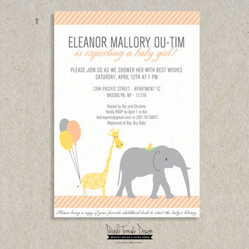 Shop Giraffe Baby Shower Invitations on Wanelo