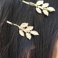 Gold Leaf Hair Clip Set