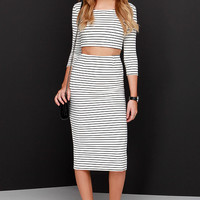 Across the Board Ivory Striped Pencil Skirt