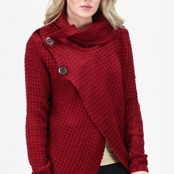 Surplice Cowl Neck & Buttons Sweater {Burgundy}