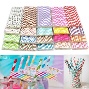 25x Paper Stripe Retro Vintage Stripe FOR Party Drinking Straws Birthday Wedding [7983237191]