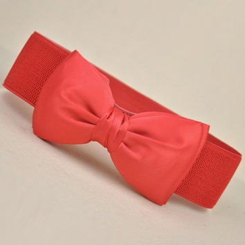 Fashion Women Candy Color Chiffon Bowknot Belts Wide Stretch Waist Elastic Cummerbund 6 Color = 1958799684