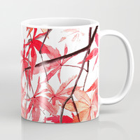 red orange maple leaves watercolor painting 2 Mug by Color and Color