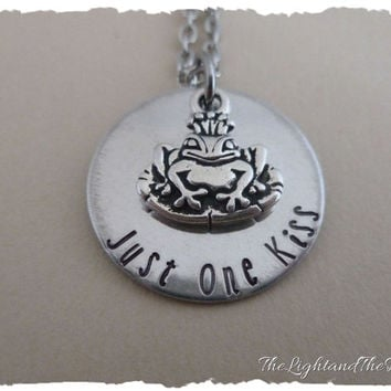 Hand Stamped Jewelry Necklace - Frog Prince - Just One Kiss - gift for her - silver handmade jewelry