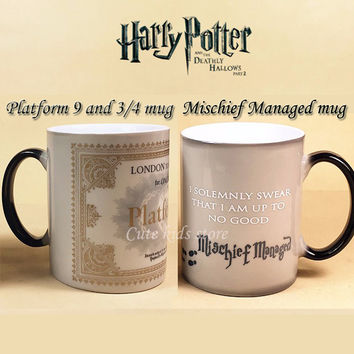 color changing Harry Potter Coffee mugs -Marauders Map mug /Mischief Managed mug