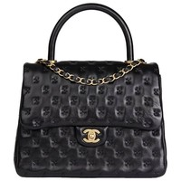 2017 Chanel Black Cross Stitch Quilted Lambskin Coco Handle Flap Bag