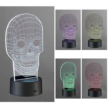 3D Illusion LED Skull Novelty Lamp - #9X772 | Lamps Plus