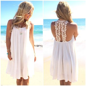 Fashion Summer Sexy Women Beach Female Women White Chiffon Maxi Party Dresses 2017 Vestido Plus Size Women Dress Clothing Brazil