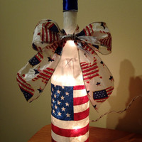 Patriotic wine bottle lamp, american flag bottle