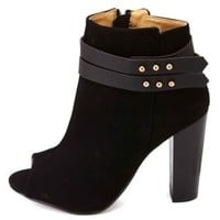 Dollhouse Belted Chunky Heel Peep Toe Booties - Black