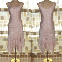 Vintage 90s 20s PINK Silk Chiffon Bias Flapper Gown S/ Small Beaded Sequined Roses Formal Dress Gatsby