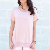 Sunny Days Lace Hi-Lo Top {Rose Pink}
