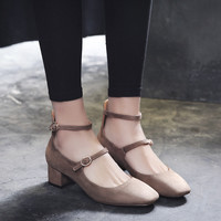 Summer Vintage Suede Square Toe With Heel Shoes [10788523663]