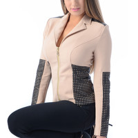 FEVER Clothing CHECK THEM OUT Nude Zip Jacket