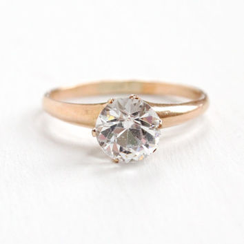 Antique 10K Rose Gold Filled Simulated Diamond Solitaire Ring - Vintage Art Deco Size 8 1/4 Raised Solitaire Clear Glass Stone Jewelry