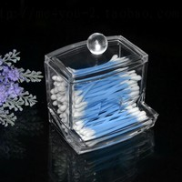 Bathroon Acrylic Crystal Cotton Bud Storage Box Clear Cotton Pad Storage Holder Make Up Cosmetic Organizer Box Container